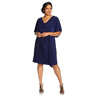 R & M Richards® Plus Size Blouson Cowlneck Dress