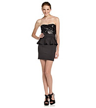 Trixxi® Juniors' Lace Peplum Dress