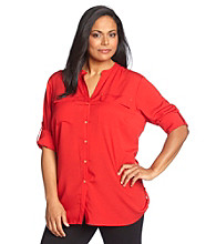 Calvin Klein Plus Size Button-Front Roll-Sleeve Top