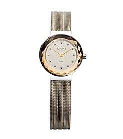 Skagen Denmark Women's Two Tone Glass Facet Mesh Watch