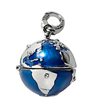 Fossil® Silvertone and Blue Globe Charm