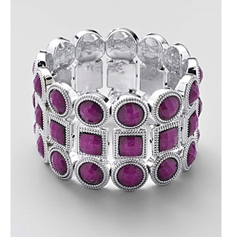 L&J Accessories Purple Faceted Glass Beads On A Wide Stretch Cuff