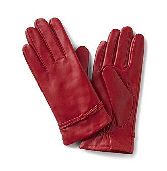 Isotoner® Smooth Knotted Leather Gloves