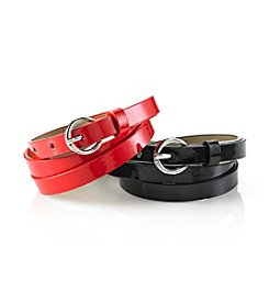 Nine West® 2-pc. Patent Belt Duo - Black Red