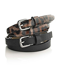 Nine West® 2-pc. Patent Belt Duo - Black Leopard