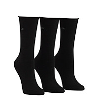 Calvin Klein 3-pk. Roll Top Crew Socks - Black