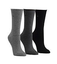 Calvin Klein 3-pk. Roll Top Crew Socks - Black Graphite Charcoal