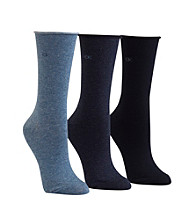 Calvin Klein 3-pk. Roll Top Crew Socks - Stonewash Denim Navy