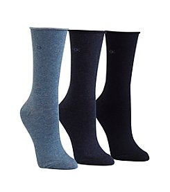 Calvin Klein 3-Pack Roll Top Crew Socks