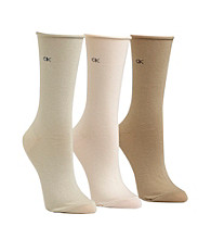 Calvin Klein 3-pk. Roll Top Crew Socks - Natural Ivory Khaki