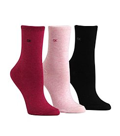 Calvin Klein 3-pack Pink/Black Roll Top Crew Socks
