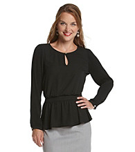 Black Rainn™ Peplum-Waist Tunic