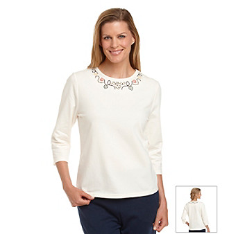 Breckenridge® Petites' Solid Tee With Trim