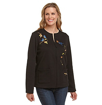 Breckenridge® Petites' Bird Frolic Fleece Cardigan