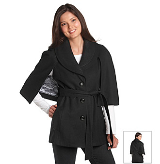 Guess Black Knit Collar Belted Cape