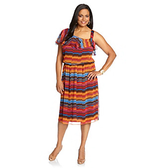 R & M Richards® Plus Size Stripe One-Shoulder Dress