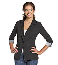 A. Byer Juniors' Striped Cuffed Sleeve Jacket
