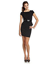 A. Byer Juniors' Belted Peplum Dress