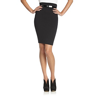 A. Byer Juniors' Belted Knit Pencil Skirt