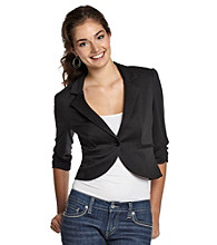 A. Byer Juniors' Knit Ruched-Sleeve Jacket