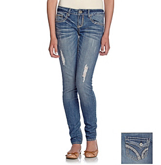 Hydraulic® Juniors' Bailey Super Skinny Jeans with Rhinestone Flap-Back Pockets