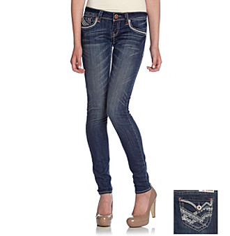 Hydraulic® Juniors' Addison Skinny Jeans with Copper Sequined Back Pockets