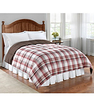 LivingQuarters Burgundy & Chocolate Plaid Reversible Microfiber Down-Alternative Comforter