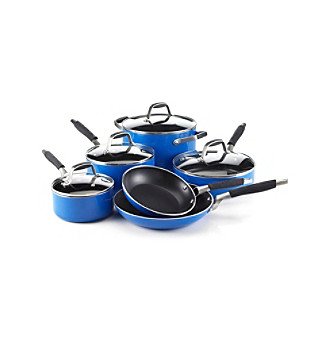 ... cookware cookware sets guy fieri nonstick 10 pc blue cookware set
