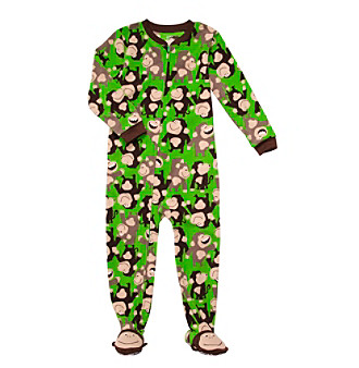 Carter's® Boys' 4-7 Green Monkey Print Footie Pajamas