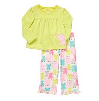 Carter's® Girls' 4-7 Green/Pink 2-pc. Frog Print Pajama Set
