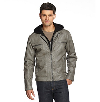 Give your look an urban edge in this cool, zip-front moto jacket with zip-out bib and hood for added warmth.