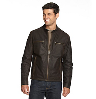 Marc New York Andrew Marc® Men's Dark Brown Blade Leather Motorcycle Jacket