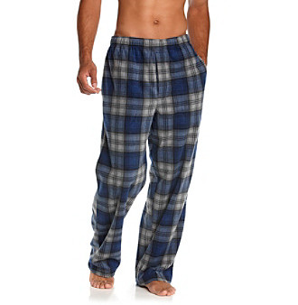 John Bartlett Statements Men's Blue/Grey Plaid Fleece Sleep Pants
