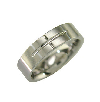 Band Ring with Cross Detail in Stainless Steel Men's