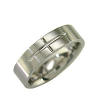 Band Ring W/Cross Detail in Stainless