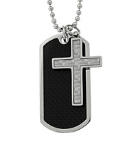 Carbon Fiber Dog Tag & Cross Necklace With Bead Chain