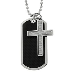 Stainless Steel Carbon Fiber Dog Tag & Cross Necklace on Bead Chain