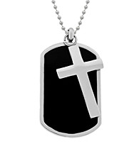 Dog Tag in Black Ion Plating with Cross in Stainless Steel on Bead Chain