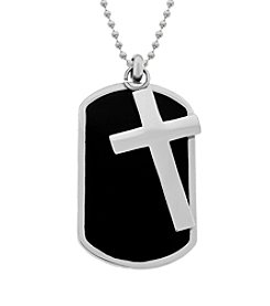 Stainless Steel Dog Tag with Cross in Black Ion Plating on Bead Chain