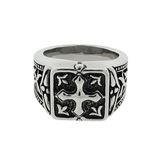 Ring with Black Ion Plating and Cross Detail Men's