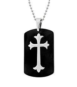 Dog Tag Pendant in Black Ion Plating with Stainless Cross on 22