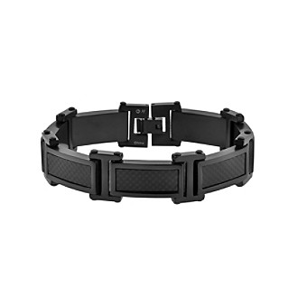 Link Bracelet with Carbon Fiber and Black Ion Plating