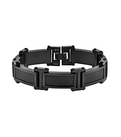Stainless Steel Link Bracelet with Carbon Fiber and Black Ion Plating