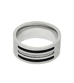 Band Ring with Black Ion Plating in Stainless Steel