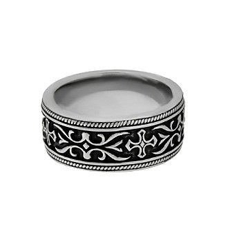 Band Ring with Black Ion Plating and Cross Detail Men's