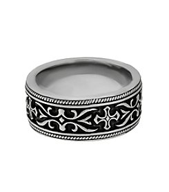 Band Ring with Black Ion Plating and Cross Detail