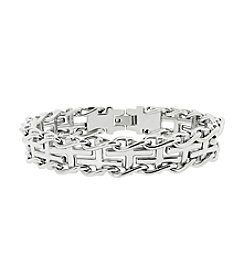 Stainless Steel Cross Railroad Bracelet