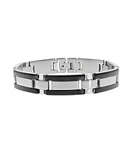Link Bracelet with Black Ion Plating And Stainless Steel