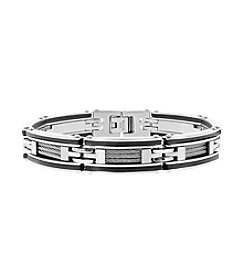 Stainless Steel Link Bracelet with Cable and Rubber