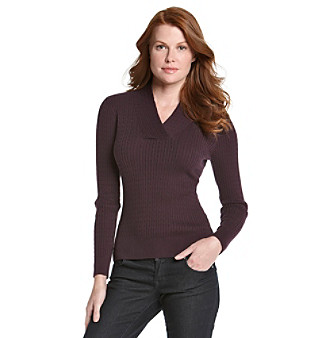 Jeanne Pierre® Cable Crossover V-Neck Sweater